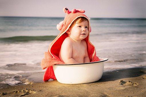 Beach, Baby, Crab, Wash Pot, Summer, Child, Sea
