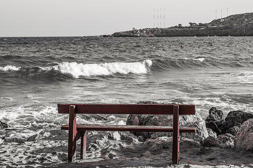 Bench, Beach, Sea, Waves, Scenery, Winter, Konnos Bay