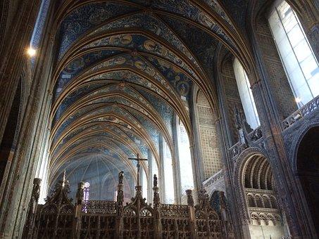 Church, Cathedral, Light, Choir, Albi, Ceiling