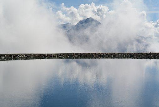Scuol, Lake, Clouds, Mirroring, Landscape, Graubünden