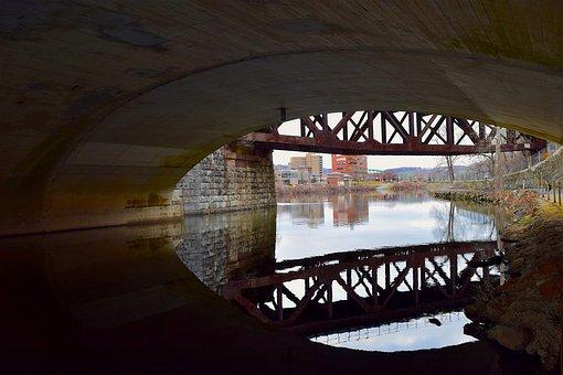 Tunnel, Bridge, Water, Reflection, Delaware River