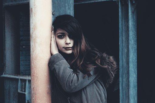 Girl Against The Wall, Girl Portrait, Sad Girl Portrait