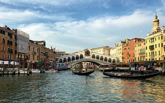 Venice, Gondola, Italy, Water, Gondolier, Rialto Bridge