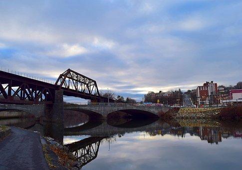 Bridge, Water, Reflection, Delaware River, Landscape