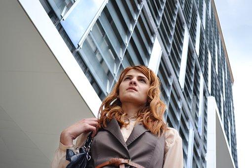 Business Woman Portrait, Outdoors Business Center