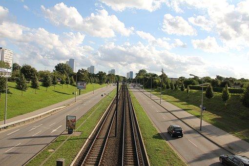 City, Tram, Rostock, Transport, Bridge, Railway Rails
