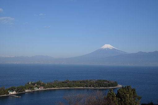 Mt Fuji, Numazu, Mountain, Ocean, Sea, Volcano