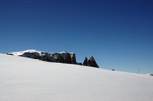 Sciliar, South Tyrol, Alp Siusi, Snow, Winter
