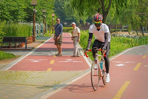 Cyclist, City Park, South Korea, Seoul, Vacation