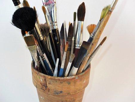 Artist's Brushes, Brushes, Brush Pot, Artist, Color