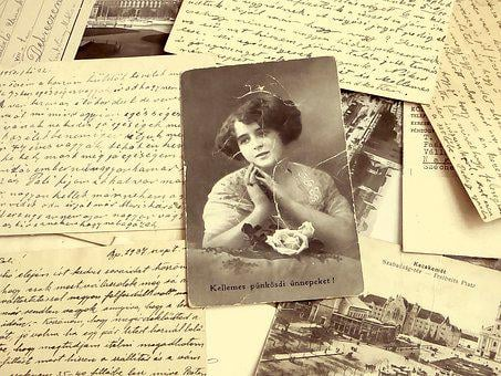 Background, Old, Picture Postcard, Woman, Porté, Yellow