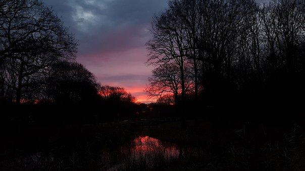 Sunrise, Dark, Light, Night, Evening, Nature, Road