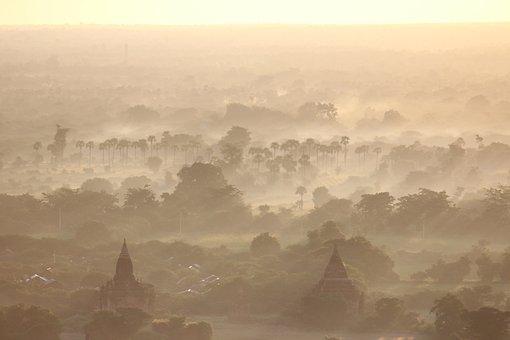 Bagan, Temple Level, Fog, Mood, Landscape, Colourless