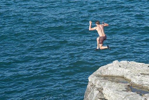 Jumping, Sea, Jump, Happy, Ocean, Freedom, Water