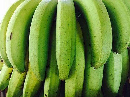 Bananas, Green, Fruit, Tropical Fruit, Fresh Fruit