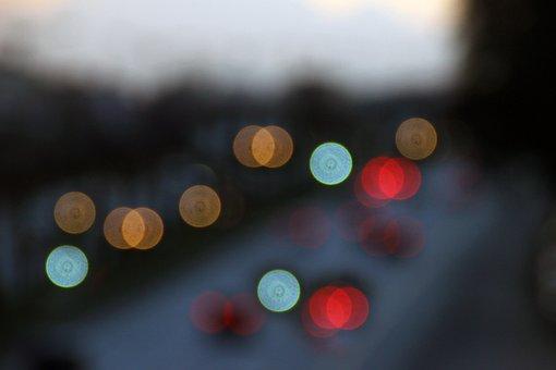 Blur, Automobile, Lights, Headlights, Light, Road, Red