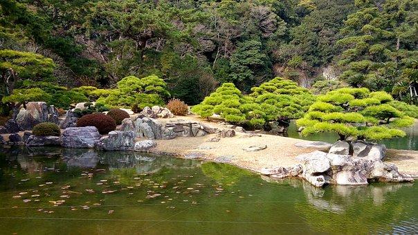 Ritsurin Garden, Shikoku, Japan, Pine, Pond