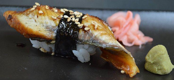 Sushi, Eel, Japanese Food, Rice, Wasabi, Ginger