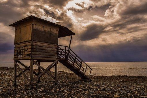 Lifeguard, Tower, Beach, Clouds, Sky, Sunlight, Storm