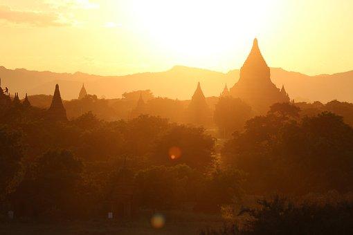 Bagan, Sunrise, Mood, Morning Sun Temple Plane, Temple