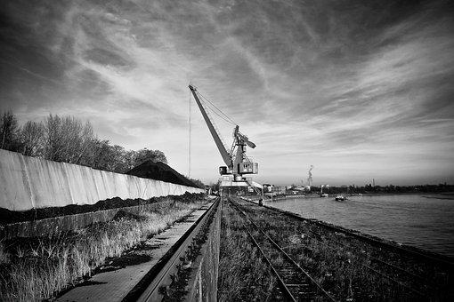 Port, Crane, Harbour Crane, Water, Envelope, Silhouette