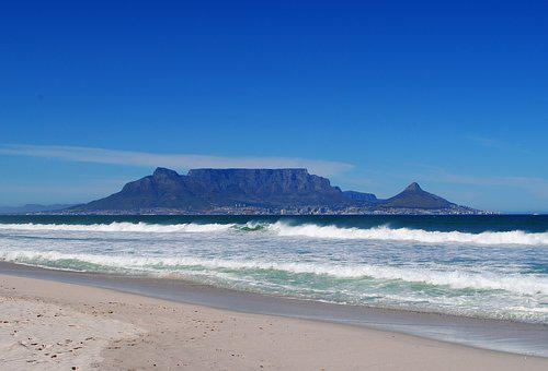 Table Mountain, Cape Town, Beach, Sea, South Africa