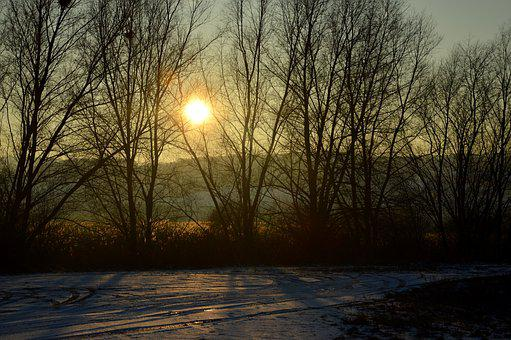 Winter, Evening, Snow, Landscape, Lake, Sonnenunetrgang
