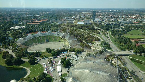 Munich, Olympia Center, Stadium, City, Summer