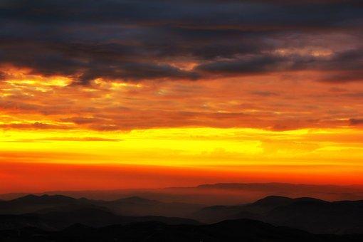 Sunset, Clouds, S, Sun, Sky, Sunrise, Nature, Landscape