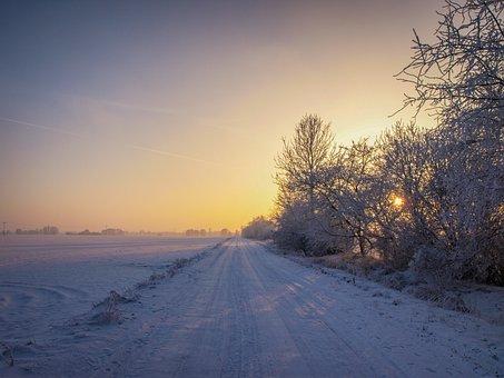 Winter, Snow, Sunrise, Wintry, Landscape, Snowy