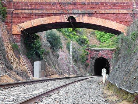 Railway, Online, Via, Tunnel, Old, Traffic Light