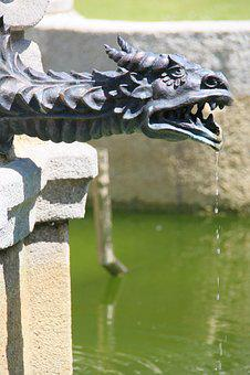 Figure, Dragon, Fountain, Water, Symbol, Animal