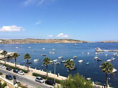 Malta, Sea, Palm Trees, Summer, Holidays, Water