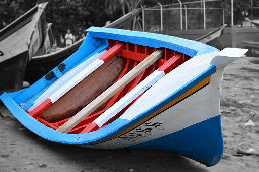 Boat, Beach, Sand, Blue, White, Fisherman, Weighers