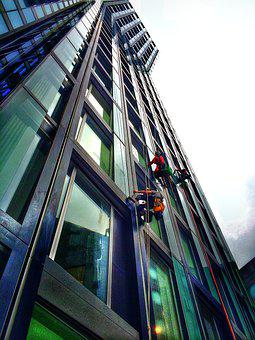 Skyscraper, Work, Window Cleaner, Hamburg, Glass Front