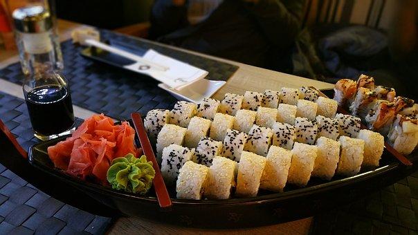 Sushi, Maki, Asian, Roll, Assortment, Platter, Ginger