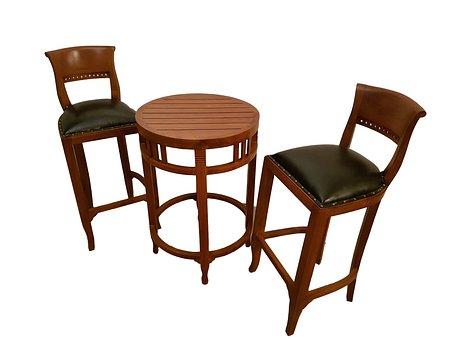 Hoker, Chair, Wood, Bar, Set