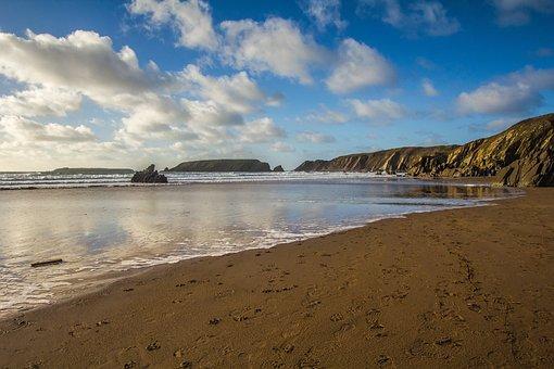Ocean, Beach, Sand, Wales, Gatelholm Island, Low Tide
