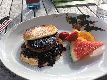 Breakfast, Pancake, Blueberry Pancakes
