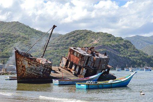 Old Ship, Boats, Sea, Ocean, Sky, Rusty, Old, Beach