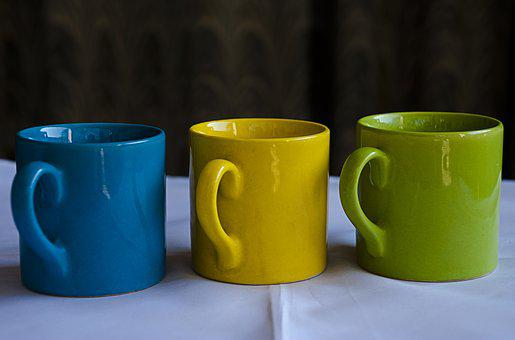 Mugs, China Clay, Chinaware, Cup, Blue, Green, Yellow