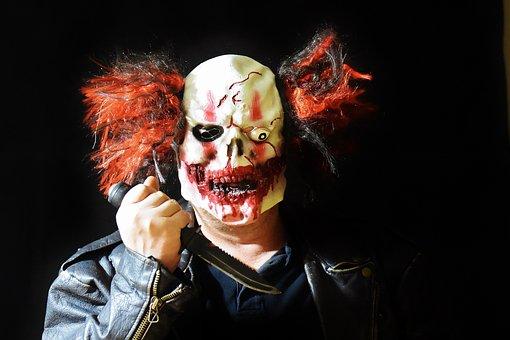 Horror Clown, Mass Murderer, Knife, Mask, Clown, Creepy