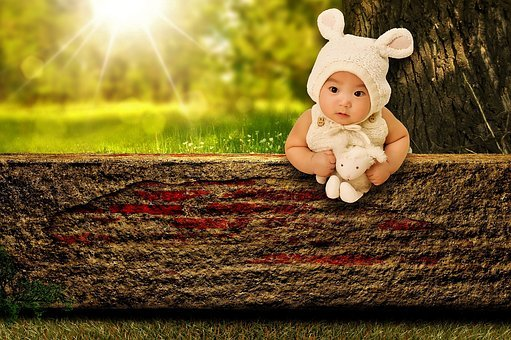 Baby, Bunny, Child, Stuffed Animal, Cute, Sweet, Summer