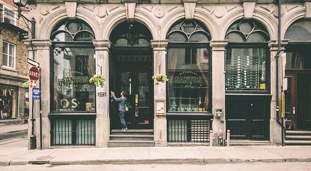 Urban, Downtown, Montreal, Man, Walking, Streetscape