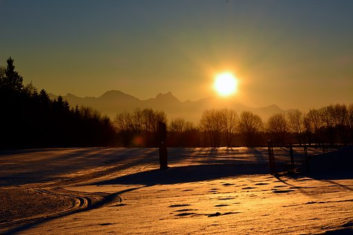 Winter, Snow, Sunset, Wintry, Evening Sky, Afterglow