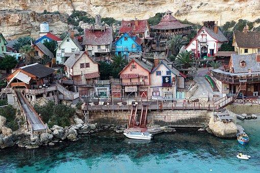 Bay, Malta, Blue, Water, Village, Nature, House, Film
