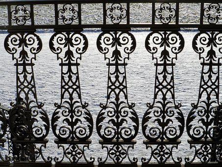 Railing, Wrought Iron, Snow, Grid, Winter, Ornaments