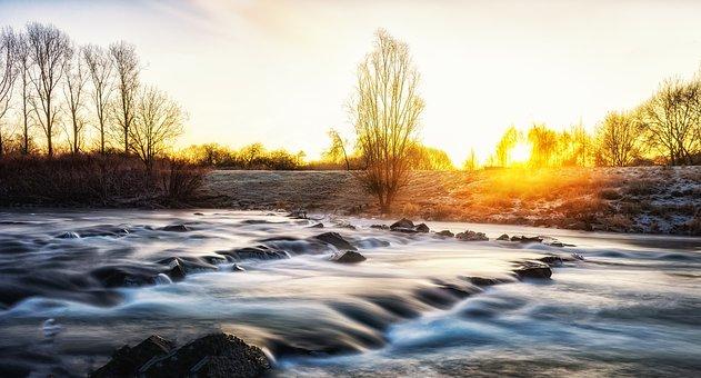 Sunrise, River, Morgenstimmung, Water, Mood, Nature