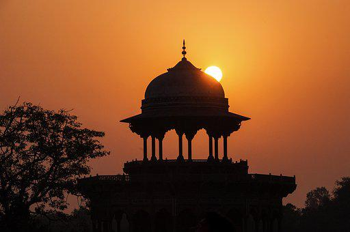 Silhouettes, Sunset, Mosque, India, Agra, Taj Mahal