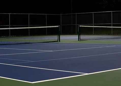 Tennis Court, Night, Empty, Park